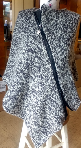 Cashmere Swirl Zip-up Asymetrical Cape Pattern